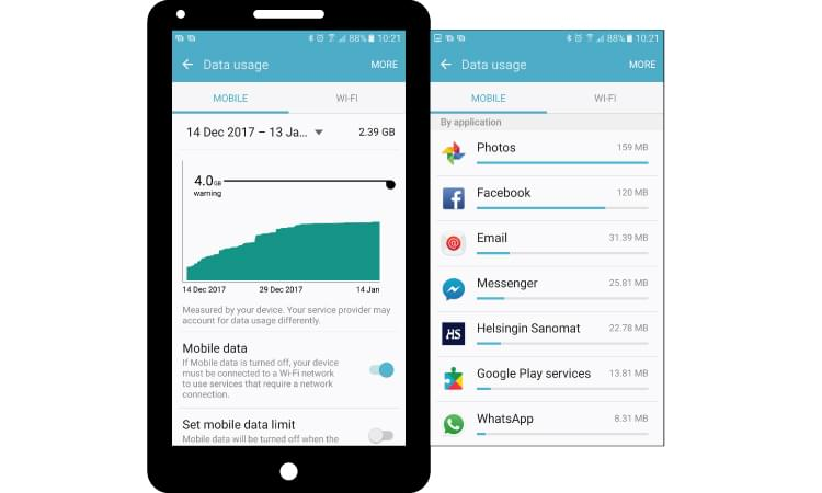Manage mobile data for Android under device settings